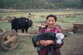Mongolia, Ovorkhangai province, Orkhon valley, nomadic woman