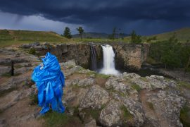 Mongolia, Ovorkhangai province, Orkhon valley, Orkhon waterfall