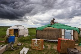 Mongolia, nomad camp in migration