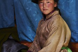 Mongolia, Orkhon valley, nomad young woman portrait