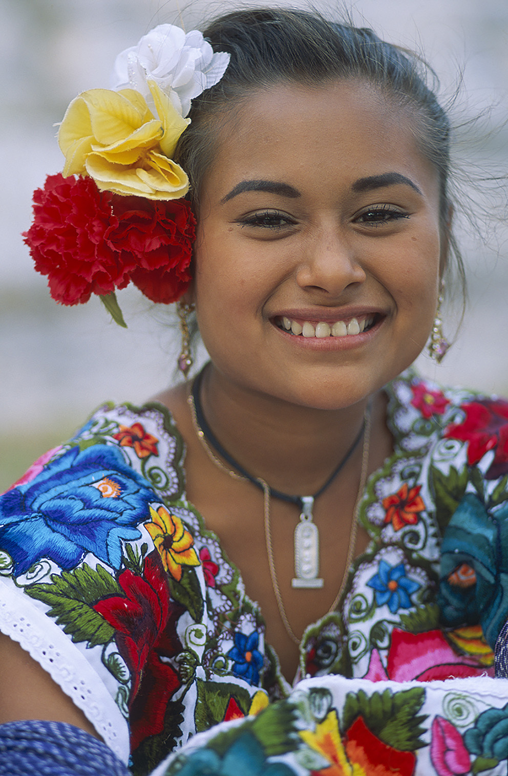 Mexico, Yucatan state, young Maya girl.