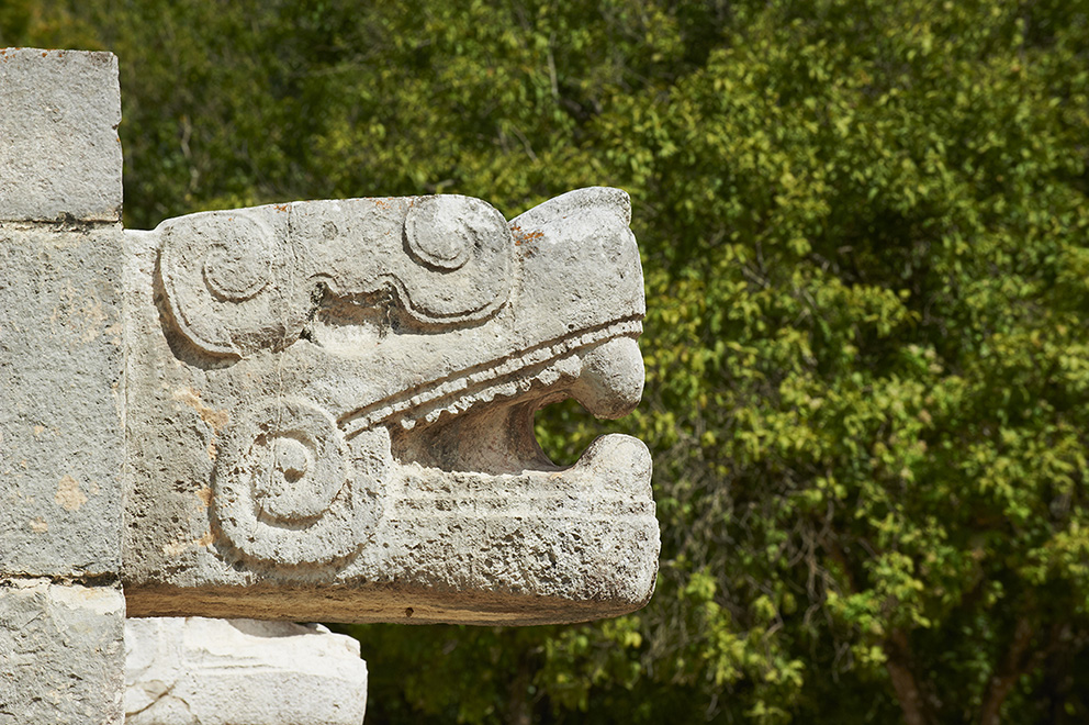 Mexico, Yucatan state, Chichen Itza archeological site, World heritage of UNESCO, the snake head, ancient mayan ruins