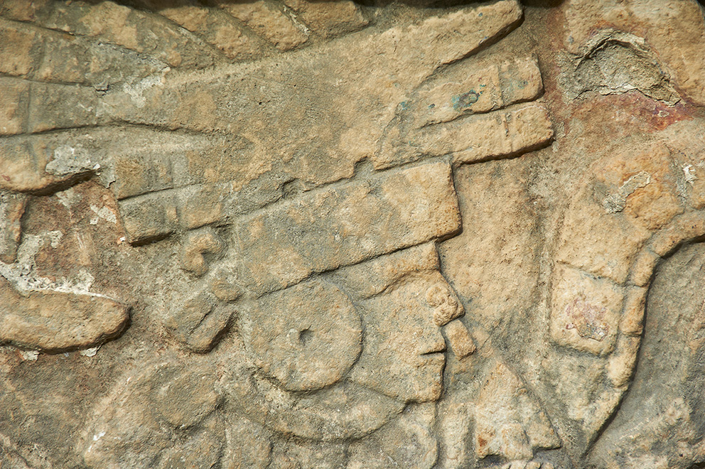 Mexico, Yucatan state, Chichen Itza archeological site, World heritage of UNESCO, ancient mayan ruins, stone relief