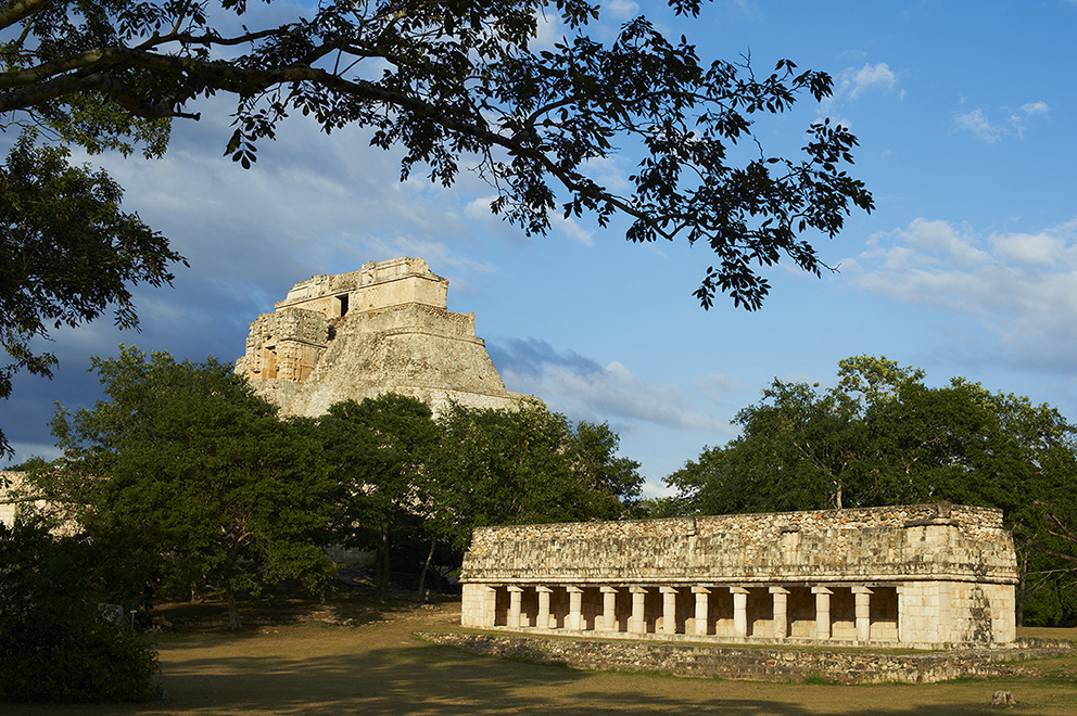 Mexico, Yucatan state, Uxmal, archeological Mayan site, world heritage of the UNESCO, Magicians Pyramid and The Ball Game Field