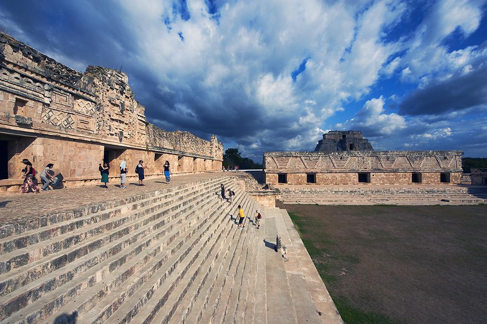 Mexico, Yucatan state, Uxmal, archeological Mayan site, world heritage of the UNESCO, Magicians Pyramid, Cuadrangulo de las Monjas, Nuns Quadrangle