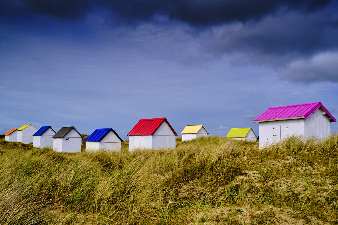 France, Normandy, Manche department, Gouville-sur-Mer, the beach huts of Gouville