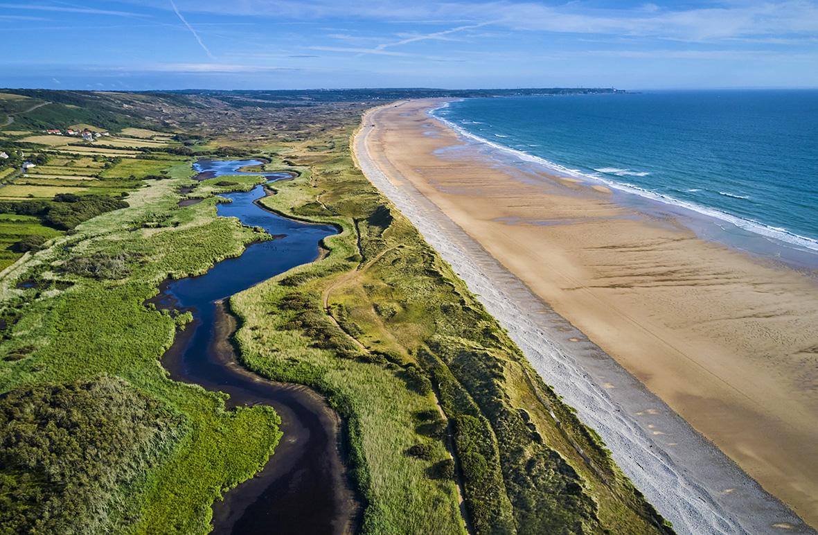 rance, Normandy, Manche department, Cotentin, Cap de la Hague, Vauville beach and  Mare de Vauville natural reserve